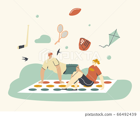 Young Characters Playing Twister, Summer Time Vacation and Spare Time. Happy People Playing Outdoor Activity in Park. Leisure Recreation, Summertime Holidays Vacation Relax. Linear Vector Illustration 66492439