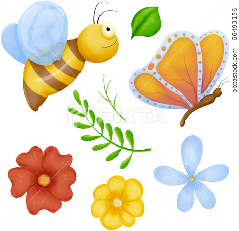 Cute bugs. Child drawing insects, flying butterflies and baby ladybird. Flower butterfly, fly insect 66493156