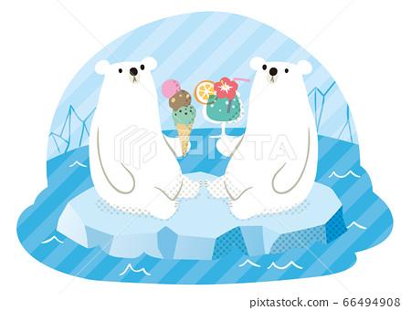 北極熊夏季點飲料和冰 66494908