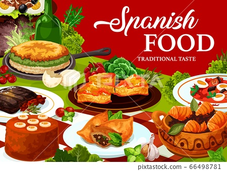 Spanish cuisine food with restaurant dishes 66498781