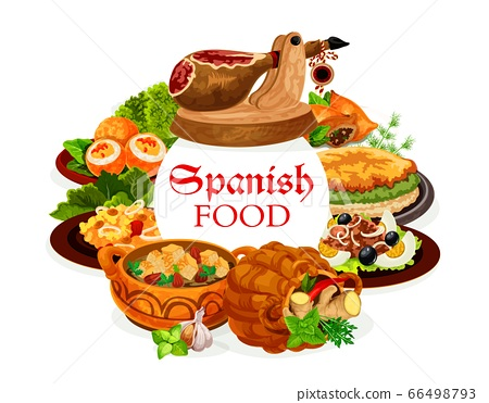Spanish food dishes of seafood, fish and meat 66498793