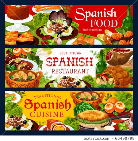 Spanish cuisine food banners of meat and fish 66498799