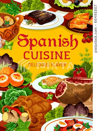 Spanish cuisine dishes of meat, fish and vegetable 66498807