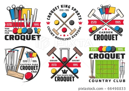 Croquet sport ball, mallet, wicket isolated icons 66498833
