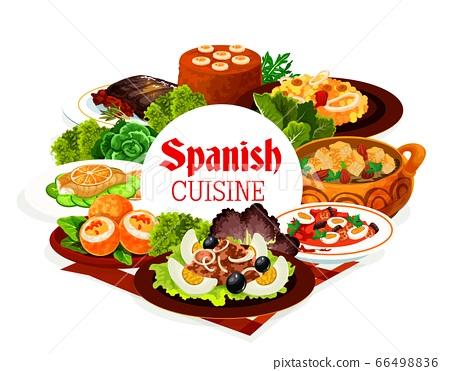 Spanish cuisine food of seafood, meat, vegetables 66498836