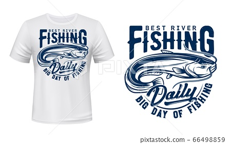 Catfish fish t-shirt print mockup, fishing sport 66498859