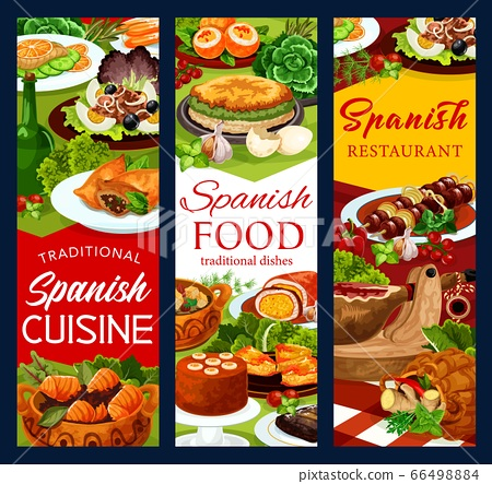 Spanish cuisine food banners, fish and meat dishes 66498884