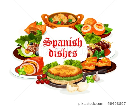 Spanish cuisine dishes, meat, fish, vegetable food 66498897