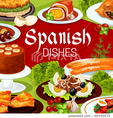 Spanish cuisine food of fish, meat with desserts 66498914