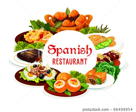 Spanish cuisine meat, fish dishes with vegetables 66498954