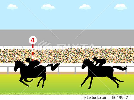 賽馬和馬場觀眾背景 66499523