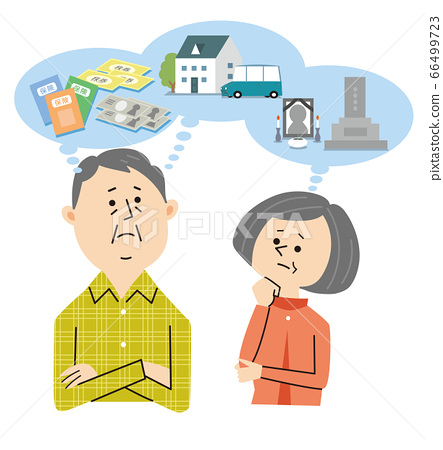 Senior couple thinking about rearrangement 66499723