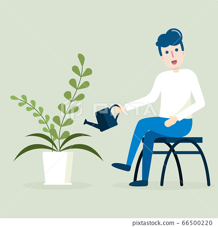 Young Man Sitting And Watering Can Plant In Stock Illustration 66500220 Pixta