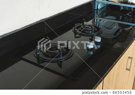 Photo of street kitchen room with black gas stove 66501458