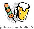 Hand drawn illustration of beer and yakitori 66502874