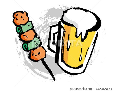 手工绘制的插图的啤酒和烤鸡肉串 66502874