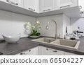 Closeup of minimalistic white kitchen furniture 66504227