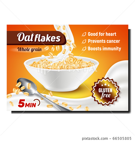 Oat Flakes Creative Promotional Banner Vector 66505805