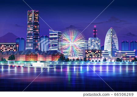 minatomirai yokohama kanagawa japan blue light night cityscape illustration 66506269