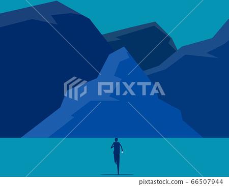 Businessman running into the peak. Flat cartoon 66507944