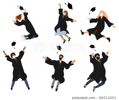 Vector set with happy graduate students in graduation clothing. Grads, jumping and throwing the mortarboards high into the air. Flat vector illustration isolated on white 66511051