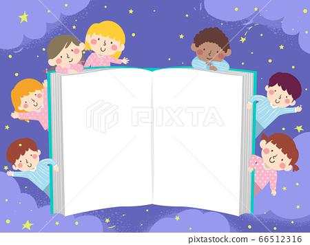 Kids Pajama Open Book Night Story Illustration 66512316