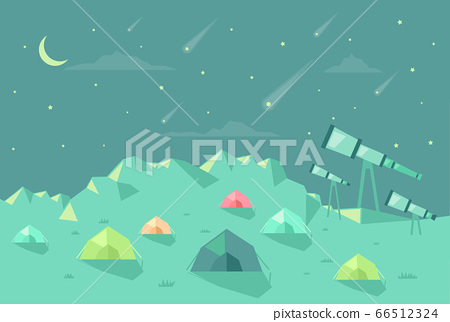 Astronomy Camp Tent Telescope Stars Illustration 66512324