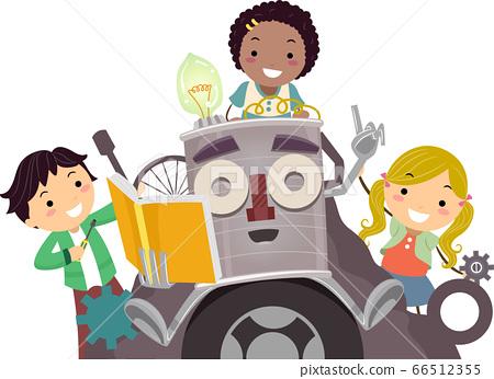 Stickman Kids Junk Art Guide Illustration 66512355