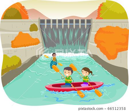 Stickman Kids Dam Autumn Kayak Illustration 66512358