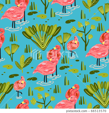 Seamless pattern with flamingo. Forest pattern 66513570