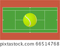 Tennis sports ground with yellow ball 66514768