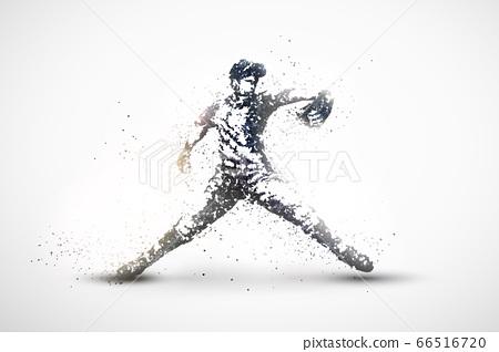棒球投手剪影黑白粒子矢量圖 66516720