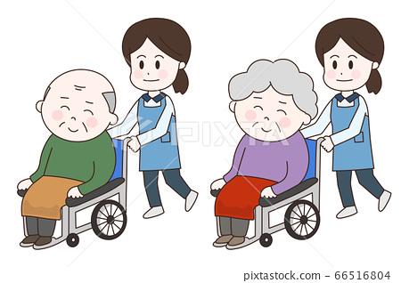 휠체어 노인과 여성 간병인 일러스트 66516804