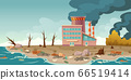 Ecology pollution, factory pipes emitting smoke 66519414
