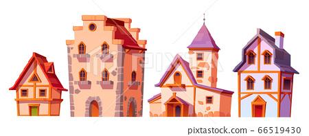 Medieval buildings, house town architecture set 66519430