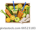 Juice Cups with space for logo in the vegetable drawer with fruit pple, lemon, carrot, celery, ginger, 66523183