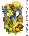 Juice Cup with space for logo with fruit pineapple, banana, Apple, mango, orange, mint, melon 66523186