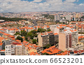 The capital of Portugal, Lisbon, top view of the orange roofs of houses, hotels, the sea coast 66523201