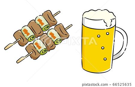 烤鸡肉串啤酒设置图标 66525635