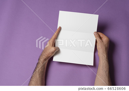 Male hands holding a tri-fold brochure with blank 66528606
