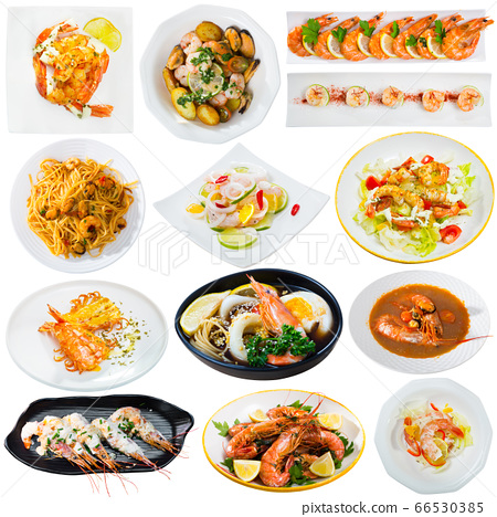 Collection of various dishes with shrimps 66530385