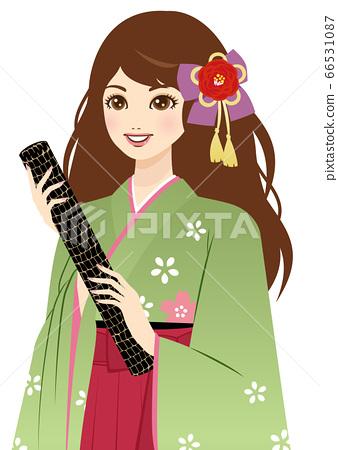 졸업식에서 졸업장 둥근 통을 가진 袴姿 여성 (상반신) 66531087