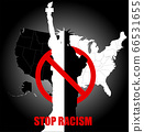 Black lives matter sign about the plurality of violence and anti-Black racism with Statue of Liberty, USA 66531655