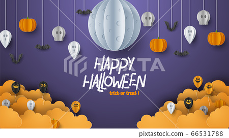 Happy Halloween banner background with clouds and pumpkins in paper cut style. Full moon in the sky, spiders web, skull, ghost and flying bats. Vector Illustration 66531788