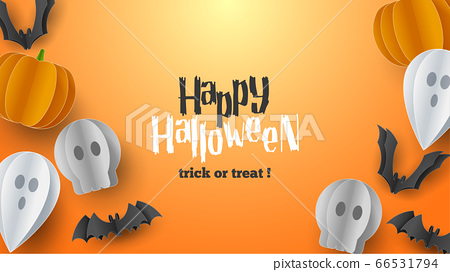 Happy Halloween banner background with clouds and pumpkins in paper cut style. Full moon in the sky, spiders web, skull, ghost and flying bats. Vector Illustration 66531794