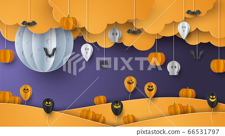 Happy Halloween banner background with clouds and pumpkins in paper cut style. Full moon in the sky, spiders web, skull, ghost and flying bats. Vector Illustration 66531797