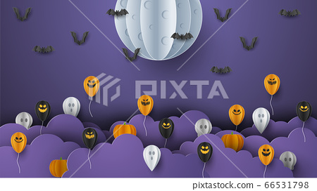 Happy Halloween banner background with clouds and pumpkins in paper cut style. Full moon in the sky, spiders web, skull, ghost and flying bats. Vector Illustration 66531798