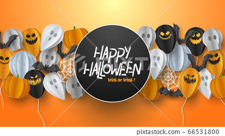 Happy Halloween banner background with clouds and pumpkins in paper cut style. Full moon in the sky, spiders web, skull, ghost and flying bats. Vector Illustration 66531800