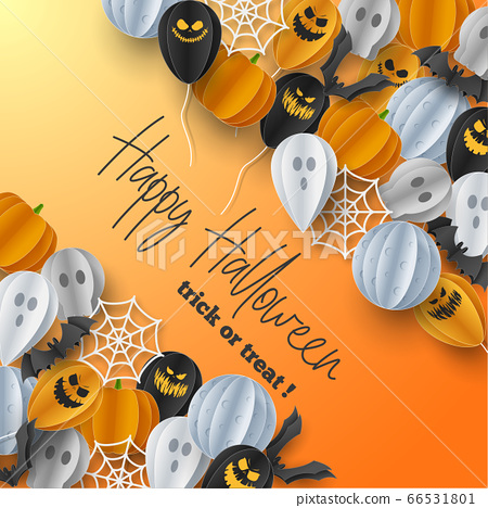 Happy Halloween banner background with clouds and pumpkins in paper cut style. Full moon in the sky, spiders web, skull, ghost and flying bats. Vector Illustration 66531801