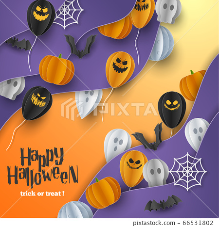 Happy Halloween banner background with clouds and pumpkins in paper cut style. Full moon in the sky, spiders web, skull, ghost and flying bats. Vector Illustration 66531802